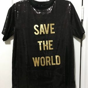 Sequins t-shirt size Large forever 21